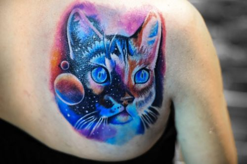 קעקוע צבעוני של חתול