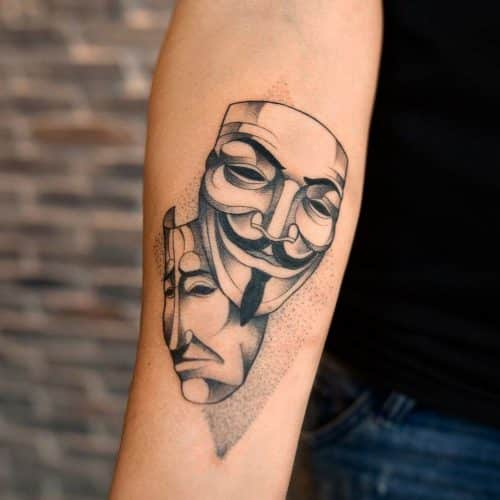 Guy Fawkes mask tattoo
